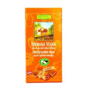 Tablette de chocolat au lait praliné Nirwana bio et vegan - Tablette 100g