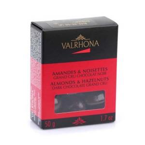 Amandes et noisettes au grand cru chocolat noir - Valrhona - Boîte 50g