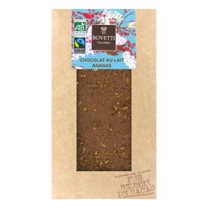 Tablette chocolat au lait Bio ananas - Tablette 100g