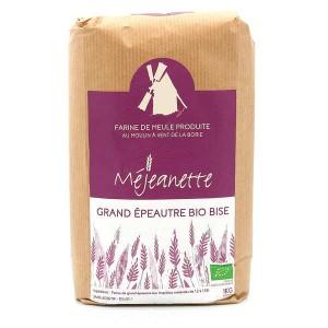 Farine bio de grand épeautre bise (équiv. entre T110 et T150) - Farine de meule Méjeanette - sac 1kg