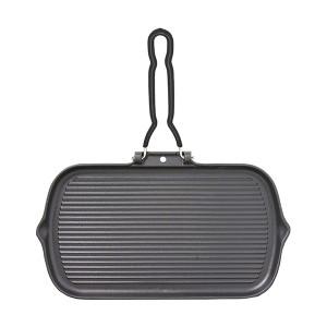 Grill fonte rectangle poignée amovible 34 cm noir Chasseur