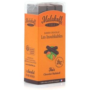 Barres de chocolat noir noisettes Malakoff 1855 sans emballage individuel - Réglette de 6 barres de 20g