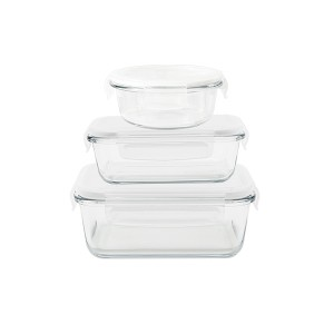 Set de 3 boîtes de conservation en verre 620 - 650 - 800 ml Pebbly