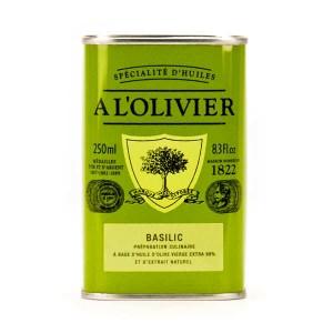 Huile d'olive vierge extra au basilic - Bidon 250ml