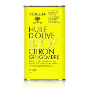 Huile d'olive vierge extra citron et gingembre bio - A l'Olivier - Bidon 250ml