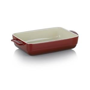 Plat à four rectangulaire en céramique 32 cm rouge