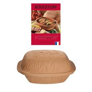 Lot cocotte ovale terre cuite 39 cm et livre de recettes Römertopf