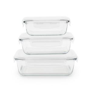 3 boîtes rectangulaires en verre 400, 650 et 1000 ml Pebbly