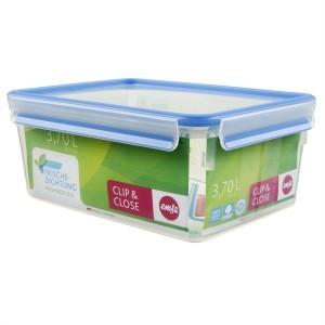 Boîte rectangle Clip & Close bleu 3,7 L Emsa