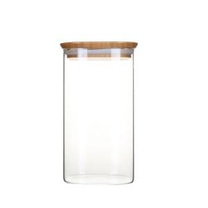 Pot en verre carré couvercle en bambou 1,4L Pebbly