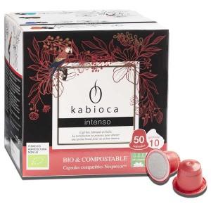 Café intenso bio et compostable, capsules compatibles Nespresso® - Boîte de 50 capsules