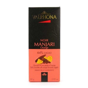 Tablette de chocolat noir Manjari 64% et orange - Valrhona - Tablette 85g