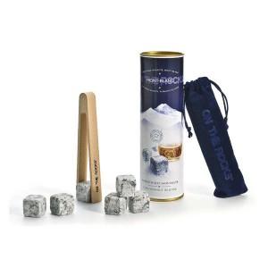 Coffret Mont Blanc 6 glaçons granit avec pince - Coffret 6 glaçons + pince