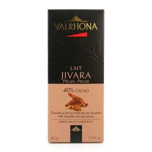 Tablette de chocolat au lait Jivara 40% et noix de pécan - Valrhona - Tablette 85g