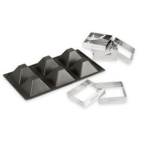 Moule silicone 6 pyramides+ 6 cadres à tartelettes Patisse