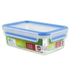 Boîte rectangle Clip & Close bleu 1 L Emsa
