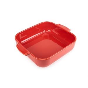 Plat four carré céramique rouge 28 cm Peugeot