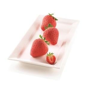 Moule silicone 3D 6 mini gâteaux fraise Silikomart