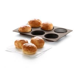 Plaque perforée 6 petits pains ronds en silicone Lekue