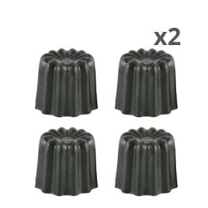 Lot de 8 moules à canelés en aluminium anti-adhésif 4,5cm