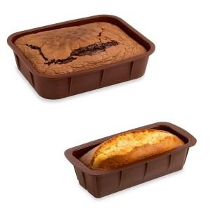Lot de 2 Flexi'Moules en silicone - 1 rectangle 28 cm et 1 cake 24 cm Mathon