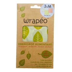 Set 3 feuilles à la cire végétale Wrapéo - taille M Wrapéo