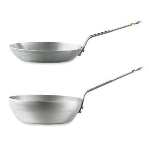 Lot poêle paysanne 24 cm et wok 24 cm Minéral B élément De Buyer