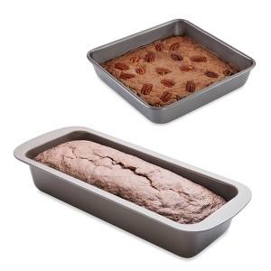 Lot moule à manqué carré 23 cm et moule à cake 30 cm acier revêtement antiadhérent Mathon