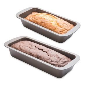 Lot 2 moules à cake 25 et 30 cm acier revêtement antiadhérent Mathon