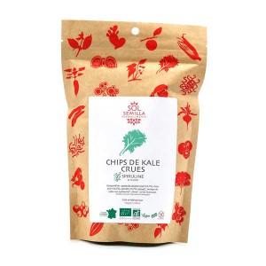 Chips de kale crues spiruline bio - Sachet 35g