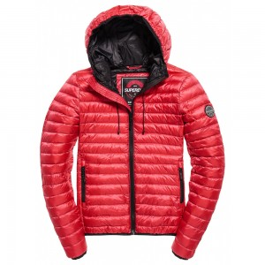 Fleece Jacket Superdry Core Down Hooded Raspberry
