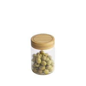 Bocal verre avec couvercle bambou 450 ml Pebbly