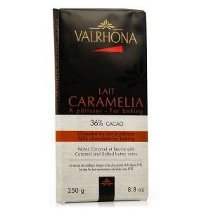 Tablette de chocolat au lait pâtissier Caramélia 36% cacao - Valrhona - Tablette 250g