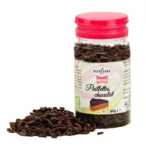 Paillettes de chocolat noir bio - Pot 60g