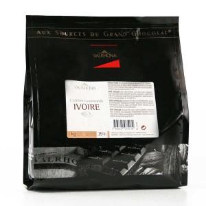 Chocolat blanc Valrhona fèves - Création gourmande Ivoire 35% - Sachet 1kg