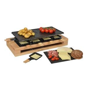 Appareil à raclette Bamboo 8 poêlons et 2 double poêlons 1500 W KCWOOD.8.MAXI Kitchen Chef Professional