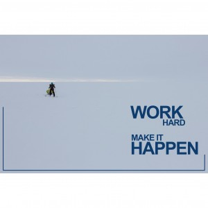 "Tirage photo aluminium dédicacé ""Work hard"" 75x50"