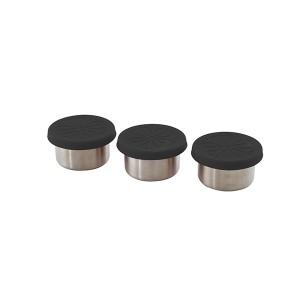Set 3 boîtes 60ml acier inoxydable et couvercle silicone Point Virgule