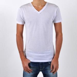T-Shirt Eleven Paris L2 Basic V Button SS Blanc