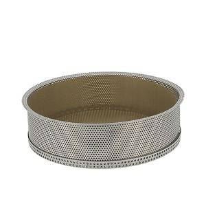 Moule à manqué amovible en inox perforé 24 cm et feuille de cuisson antiadhésive De Buyer