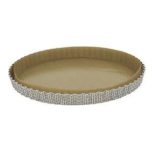 Moule à tarte amovible 28 cm inox perforé et feuille de cuisson antiadhésive De Buyer