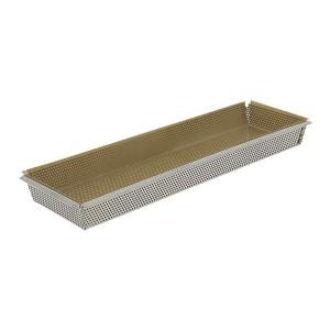 Moule rectangulaire amovible inox perforé 35 cm et feuille de cuisson antiadhésive De Buyer