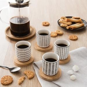 Set de 4 tasses en porcelaine avec soucoupe bambou 10 cl Mathon