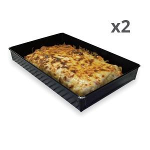 Lot de deux plats de cuisson anti-adhérent 28 cm
