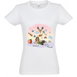 "T-shirt Femme Blanc Marie Crayon ""Dans mes rêves"""