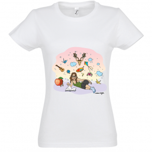 "Women's White Marie Crayon T-shirt ""In My dreams"""