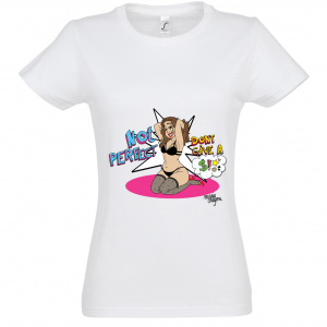 "Women's White Marie Crayon T-shirt ""Not Perfect... So what? """