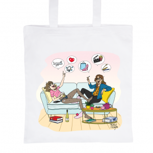 "Tote Bag Blanc 100% Coton Marie Crayon ""Les copines d'abord"""
