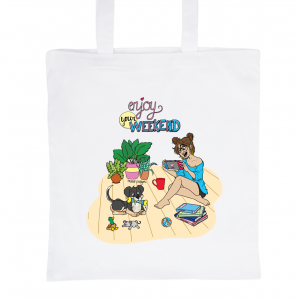 "White Tote Bag 100% Cotton Marie Crayon ""Enjoy your Weekend !"""