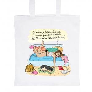 """Tote Bag Blanc 100% Coton Marie Crayon """"Pas envie de sortir du lit"""""""